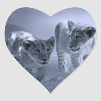 Baby lion cubs at play heart sticker