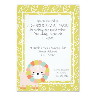 Baby Lion Gender Reveal Party Invitations