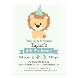 Baby Lion Kid's Birthday Party Invitation Postcard