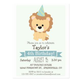 Baby Lion Kid's Birthday Party Invitation Postcard