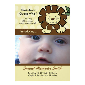 BABY LION King of the Jungle Birth Announcement