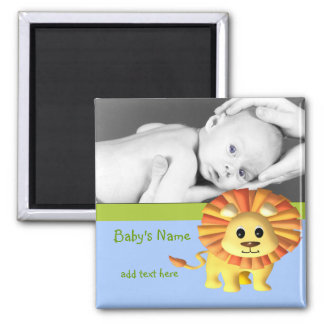 Baby Lion/ Photo 2 Inch Square Magnet