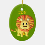 Baby Lion/ Photo Double-Sided Oval Ceramic Christmas Ornament