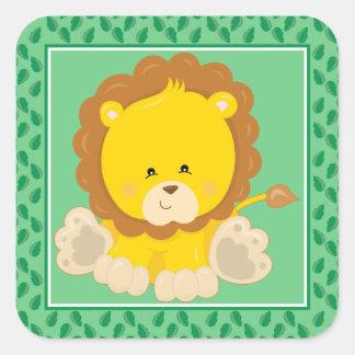 Baby Lion   Safari Animals Party Square Sticker