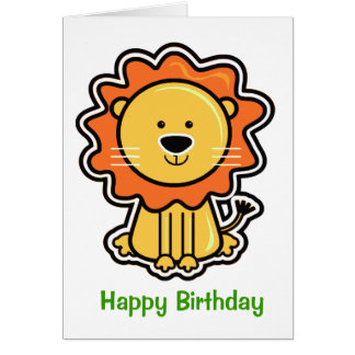 Baby Lion Sticker Birithday Card