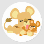 Baby Lion's Bath round sticker