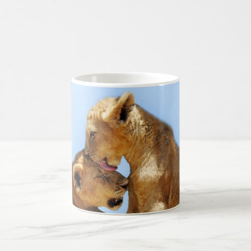 Baby lions love classic white coffee mug