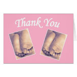 Baby little feet twins thank you card pink