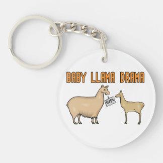 Baby Llama Drama Double-Sided Round Acrylic Keychain