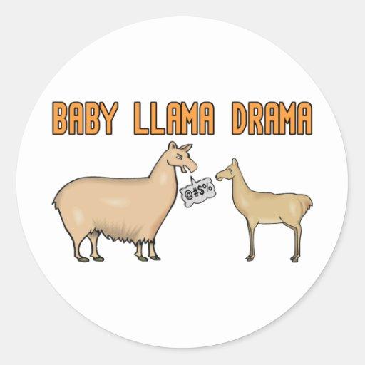 Baby Llama Drama Round Sticker