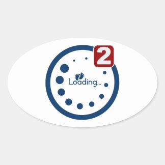 Baby Loading , Twin Notification Oval Sticker