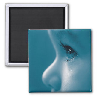 Baby Looking Child Face Eyes Eyelashes Blue 2 Inch Square Magnet