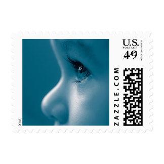 Baby Looking Child Face Eyes Eyelashes Blue Postage