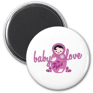 baby love babooshka doll in pink 2 inch round magnet