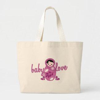 baby love babooshka doll in pink large tote bag