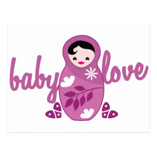 baby love babooshka doll in pink postcard