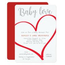 Baby Love Heart Baby Shower Invitation