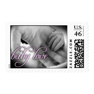 Baby Love pink postage stamp