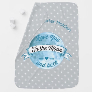 Baby Love You to the Moon and Back Star Pattern Receiving Blanket