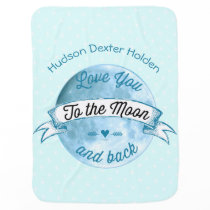 Baby Love You to the Moon and Back Star Pattern Swaddle Blanket