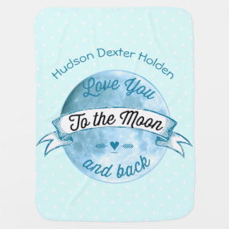 Baby Love You to the Moon and Back Star Pattern Receiving Blankets