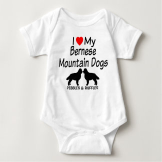 Baby Loves Two Bernese Mountain Dogs Baby Bodysuit