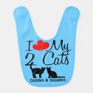 Baby Loves TWO Cats Baby Bib