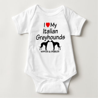 Baby Loves Two Italian Greyhound Dogs Baby Bodysuit