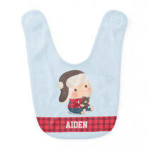 Baby Lumberjack Boy and Teddy Bear Bib