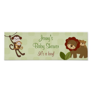 Baby Luv Jungle Animal Baby Shower Banner Sign