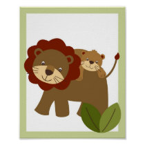 Baby Luv Jungle Lion Nursery Wall Art Print