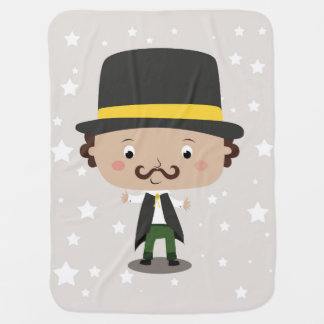 Baby magician with a hat mustache stars and cape stroller blanket