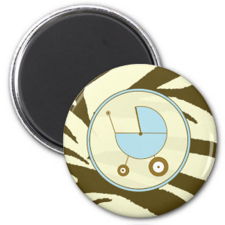 Baby Magnet - Brown Zebra & Blue Baby Carriage