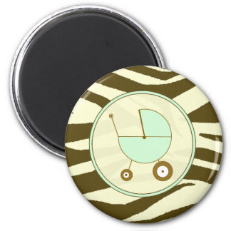 Baby Magnet - Brown Zebra & Green Baby Carriage