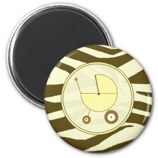 Baby Magnet - Brown Zebra & Yellow Baby Carriage