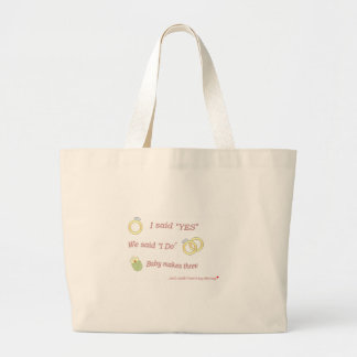Baby makes 3 large tote bag