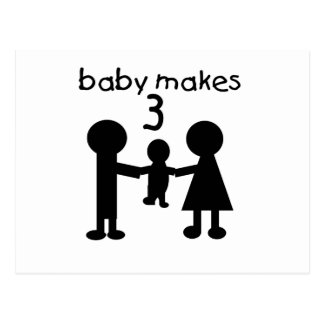 Baby Makes 3 Postcard