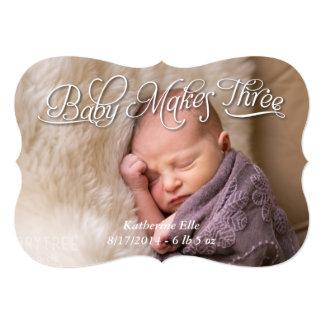 Baby Makes Three Birth Photo Announcement Card