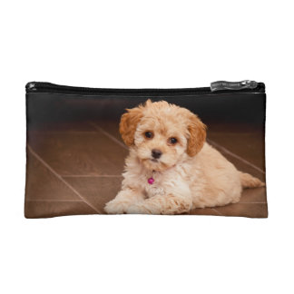 Baby Maltese poodle mix or maltipoo puppy dog Makeup Bag