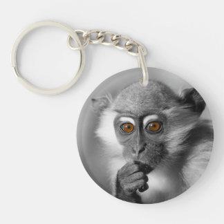 Baby Mangabey Monkey Double-Sided Round Acrylic Keychain