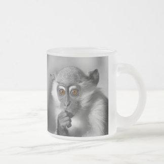 Baby Mangabey Monkey Frosted Glass Coffee Mug