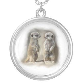 baby meerkats round pendant necklace