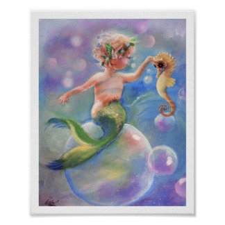 Baby Mermaid and Bubbles poster