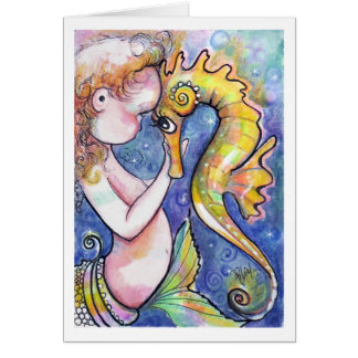 Baby Mermaid and Seahorse Card