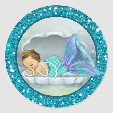 Toddler & Baby themed Baby Mermaid Envelope Seals Sm Round Stickers 130