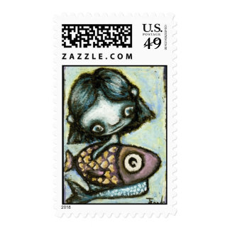 Baby mermaid with fish by Tanya Bond Stamps