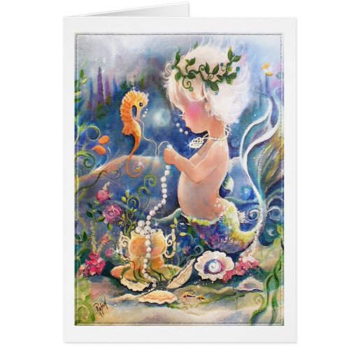 Baby Mermaid with pearls Card