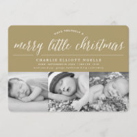 Baby Merry Little Christmas Photo Collage Card