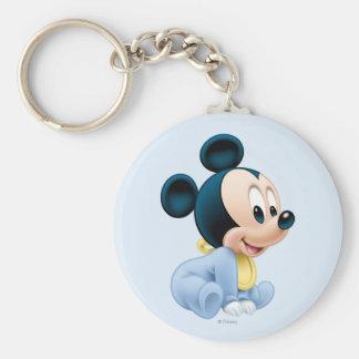 Baby Mickey | Blue Pajamas Basic Round Button Keychain