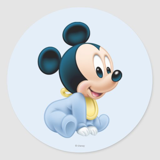 Baby mickey mouse 2 round stickers zazzle for Stickers pared bebe